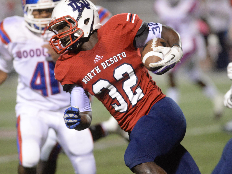 North DeSoto's Delmonte Hall scored five touchdowns Thursday night.