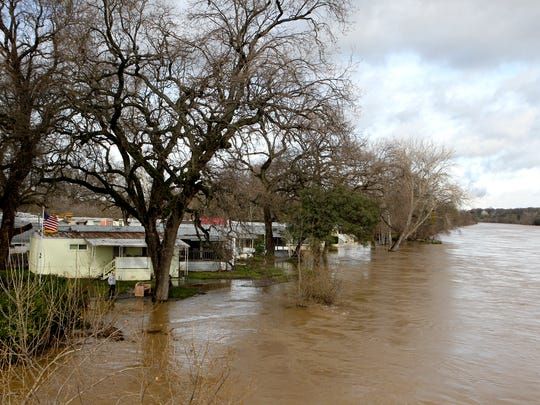 Balls Ferry Mobile Home Park is flooded Tuesday after the Sacramento River overran its banks.