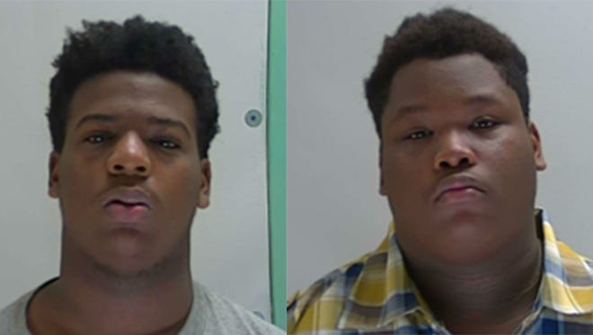 Casmir Poe, left, and Tone Hill, right, were arrested Wednesday for two counts of armed robbery.