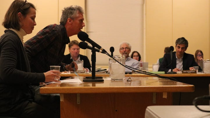 South Burlington City Council members Meaghan Emery and Tim Barritt ask Burlington City Council to include them in conversations regarding mitigation on March 27, 2017.