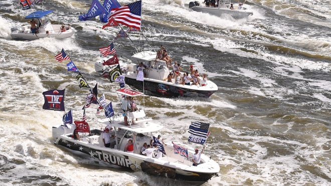 A flotilla of watercraft join a boat parade for President Donald Trump in the Indian and Banana rivers across Brevard County on June 20.