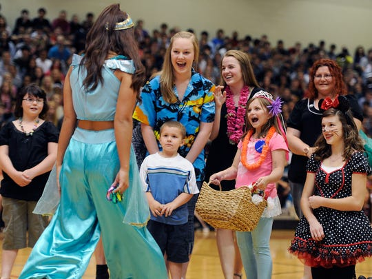 Hayley Voorhees, 9, had her wish granted through the Make-A-Wish Middle Tennessee Foundation. Ravenwood High students granted the girl's wish to go to Disney World during a pep rally at the school's gym. The rally held many surprises, including a visit from several favorite Disney princesses, such as Cinderella, Belle, Elsa and Snow White.