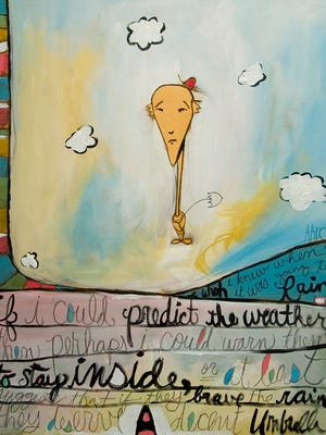 Work by Nashville artist Aaron Grayum is on display in the Peg Harvill Gallery. His whimsical and colorful paintings, with elements such as balloons and birds, are designed to inspire the inner child.
