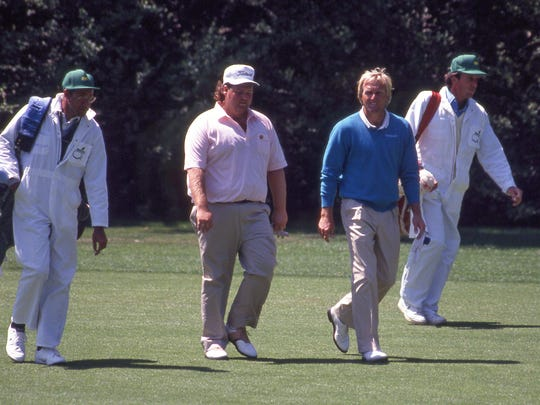 Chris Patton plays a practice round with Greg Norman