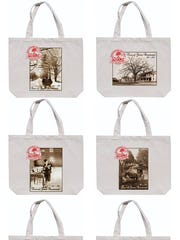 Commemorative tote bags, with six different Verne Morton prints depicting historical Groton, are available from the Groton Town Clerk's office.
