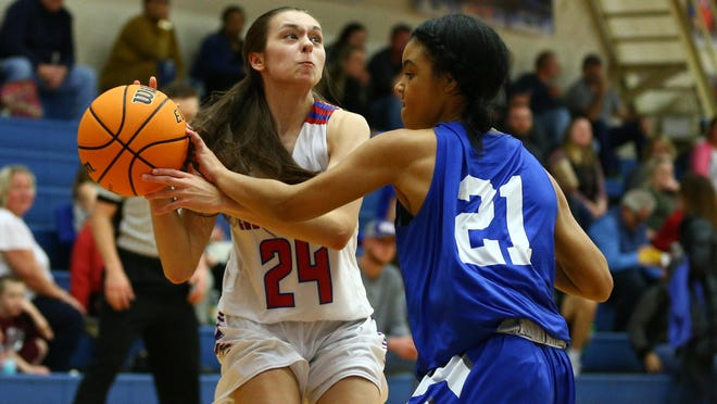 West Henderson's Whitney Thompson (24) gets ready to shoot during the second half against McDowell last season at West.