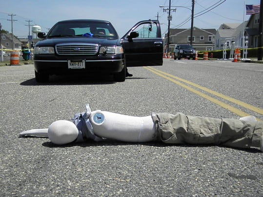 crash test dummy after hit at 35 mph