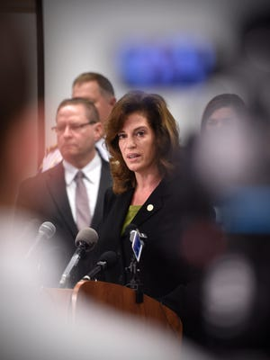 Stearns County Attorney Janelle Kendall speaks during a news conference Oct. 6 at the St. Cloud Police Department.