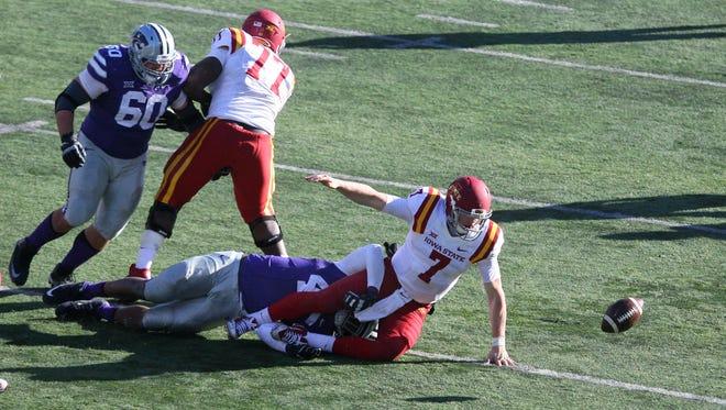 Iowa State quarterback Joel Lanning fumbles the ball at Kansas State in 2015.