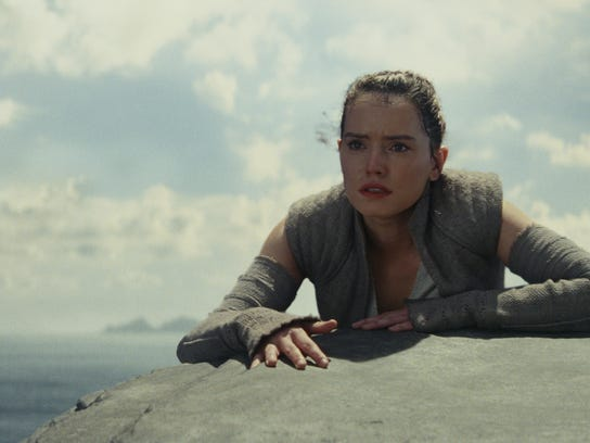 "Rey (Daisy Ridley) in ""Star Wars: The Last Jedi."""