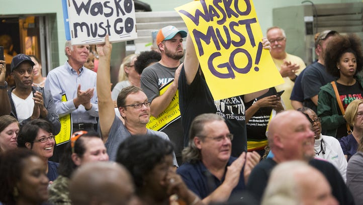Attendees protest during a recent West York Borough