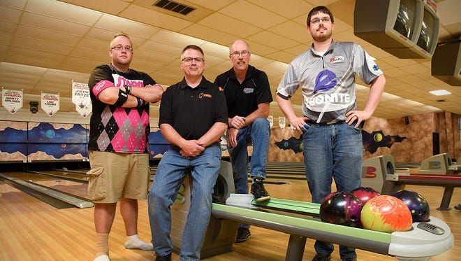 Bowlers Benjamin Goede, left to right, Rod Neuenschwander,  Bruce Solt and Eric George are previous winners of the Times-Nahan men's bowling tournament and all are competing for the title again Thursday, May 5, at the Southway Bowl in St. Cloud.