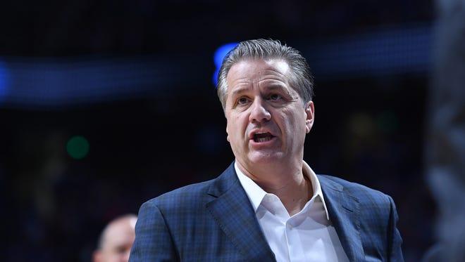 UK head coach John Calipari during the University of Kentucky mens basketball Blue-White scrimmage in Lexington, Kentucky, on Friday, Oct. 20, 2017.