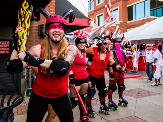 """Running of the Bulls features """"Rollerbuls,"""" or roller derby athletes, as the bulls who will chase the runners."""