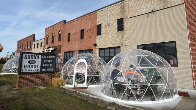 """There are four """"igloos"""" for outdoor dining at Social House 103 in Dundee."""