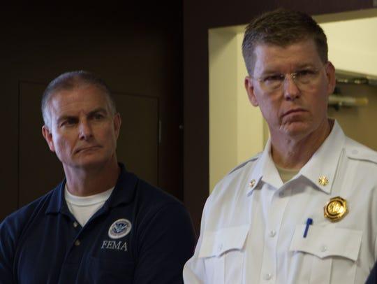 FEMA Region 6 Administrator Tony Robinson (left) and