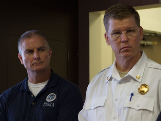 FEMA Region 6 Administrator Tony Robinson (left) and Texas Emergency Management Chief Nim Kidd met with Port Aransas officials on Monday, Sept. 4, to survey Hurricane Harvey damage and discuss aid to the community.