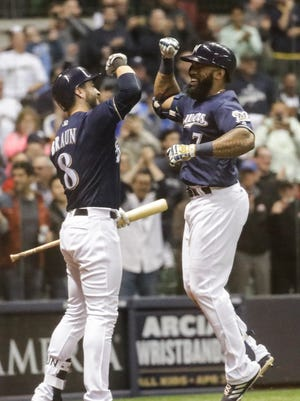 Eric Thames has scored 27 runs, tying him with Ryan Braun  for second-most runs scored in any month by a Brewer.