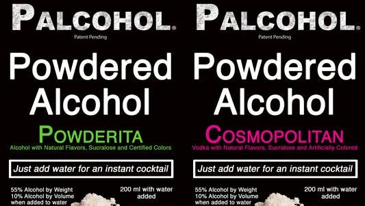 Labels of powdered drink mixes from www.palcohol.com.