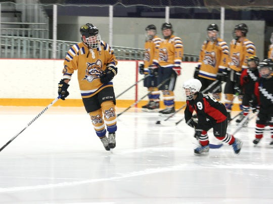 Schoolcraft College captain Andrew Lindsay (left) skates a lap with little cousin Carson Lindsay of the Livonia Timbits Mites.