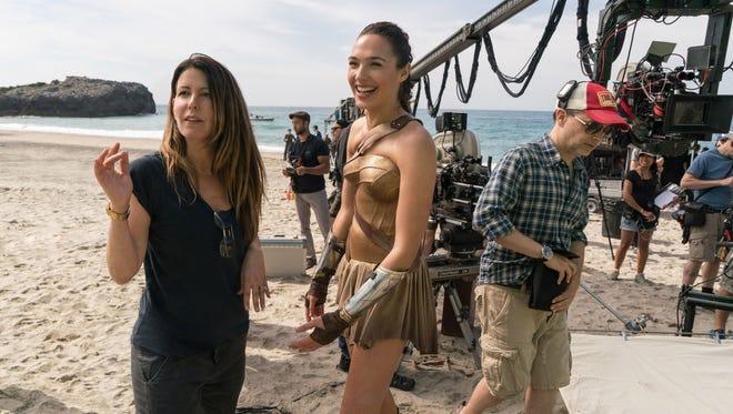 Patty Jenkins, left, directs Gal Gadot on the set of 'Wonder Woman.'