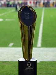The College Football Playoff trophy.