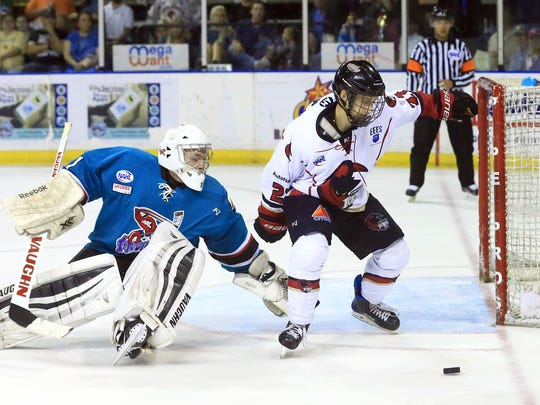 IceRays' Larry Jungwirth tries to score against Shreveport during the third period on Wednesday, April 19, 2017, at the American Bank Center in Corpus Christi.