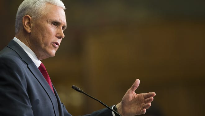 Indiana Gov. Mike Pence held a news conference Tuesday, March 31, 2015, to discuss changes he wanted made to the Religious Freedom Restoration Act.