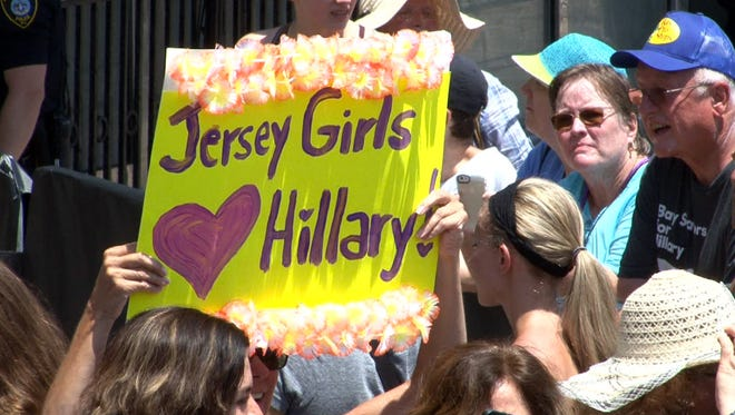 A supporter of Democratic Presidential candidate Hillary Clinton holds a sign up after the candidate spoke outside the former Trump Plaza during a campaign stop in Atlantic City, NJ, Wednesday, July 6, 2016