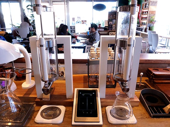 New coffee machines at Kudo Society Cafe.