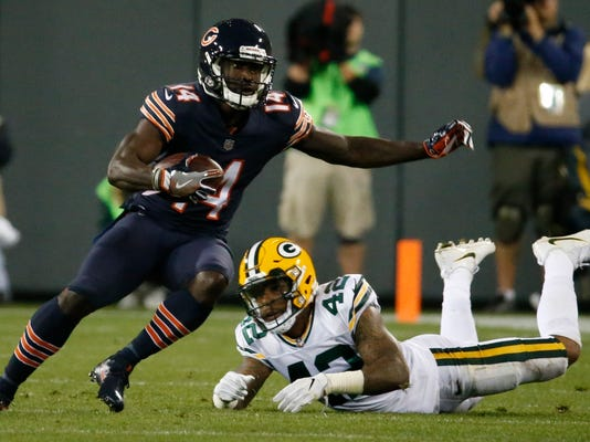 "FILE - In this Sept. 28, 2017, file photo, Chicago Bears' Deonte Thompson gets past Green Bay Packers' Morgan Burnett during the first half of an NFL football game in Green Bay, Wis. Amazon had a mostly successful debut into live streaming of major sports events with increased audience and an improved viewing experience in its first season showing NFL games. The question looking ahead is how aggressively will Amazon be in the sports streaming landscape. ""It's too soon to say,"" said Jim DeLorenzo, the head of Amazon Sports. ""We're just in the early stages here. We were definitely pleased with the way things played out. It was great to partner with the NFL on this and we were really happy with how our customers reacted to it. But it's too soon to say this impacts our strategy going forward."" (AP Photo/Mike Roemer, File)"