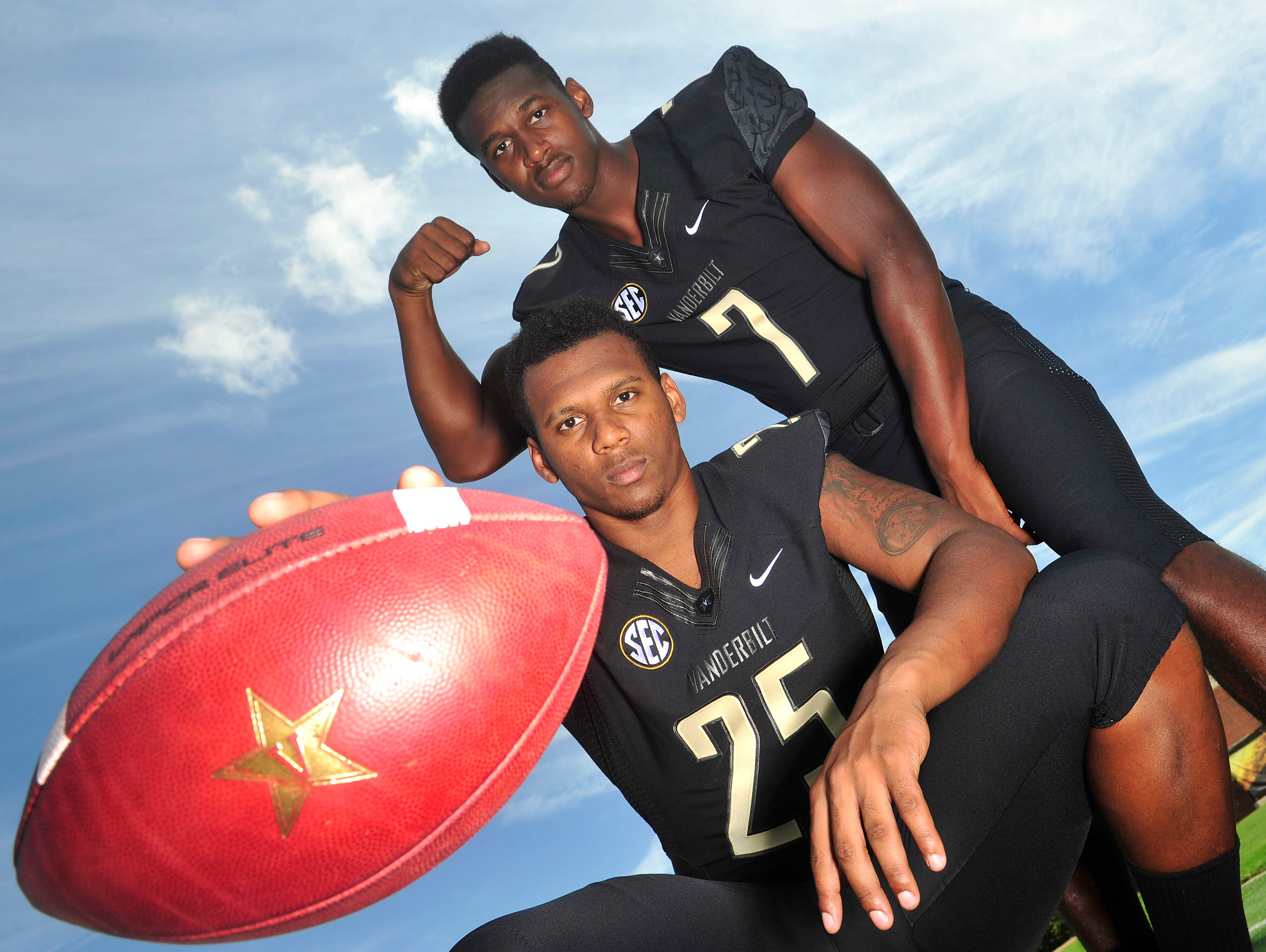 Brothers and Vanderbilt football players Josh Smith, left, and Emmanuel Smith are excited to be on the same team.