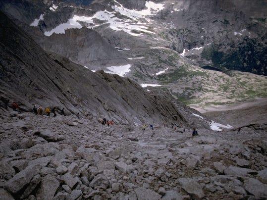 Climbers In Trough On Longs Peak Photo Taken In August.jpg