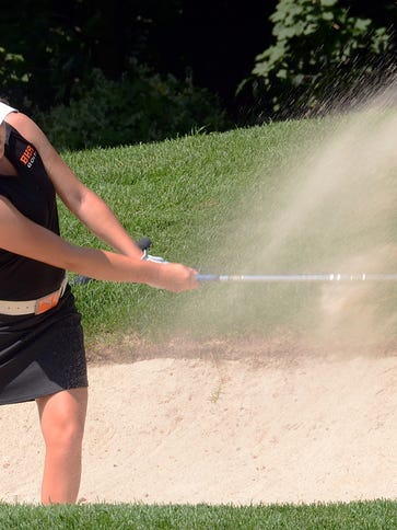Jennica Long, shown last year, shot a match-low 41 to lead Brighton past Hartland in a KLAA West dual match on Wednesday. The Bulldogs can wrap up a West title today vs. Pinckney.