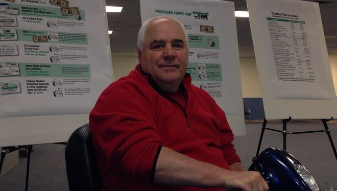 Greg Ehrlich, of Haverstraw, was one of 15 people who spoke out against Rockland County's plan to increase bus fares on its TOR, Tappan ZEExpress and TRIPS services. Two public hearings were held April 30 at the Palisades Center in West Nyack.