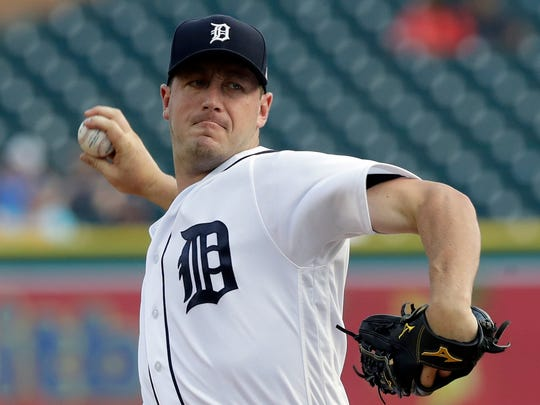 Tigers starting pitcher Jordan Zimmermann throws during the first inning against the Diamondbacks, Wednesday, June 14, 2017 in Detroit.