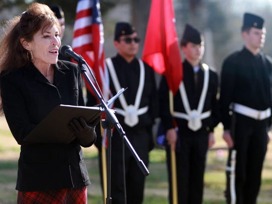 Gallatin Mayor Paige Brown speaks at the Wreaths Across America ceremony in the Gallatin City Cemetery on Sat. Dec. 16, 2017.