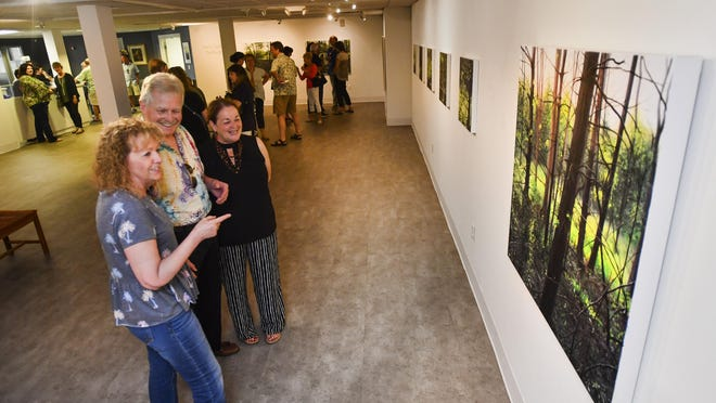 A crowd gathers for a First Friday event to view the artwork of Anne E. Coulter at the Peoria Art Guild at 203 Harrison Street in downtown Peoria on Friday, June 7, 2019.