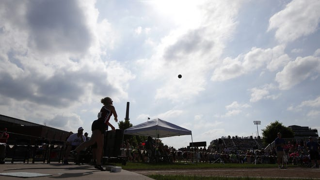 Marathon's Katelyn Schmidt competes in the Division 3 girls shot put during the WIAA state track and field meet on Friday in La Crosse