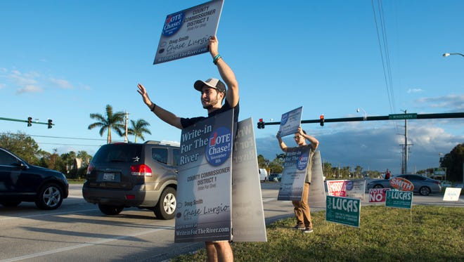 Chase Lurgio ran for the Martin County Commissioner District 1 seat in 2016 as a write-in candidate against Doug Smith.