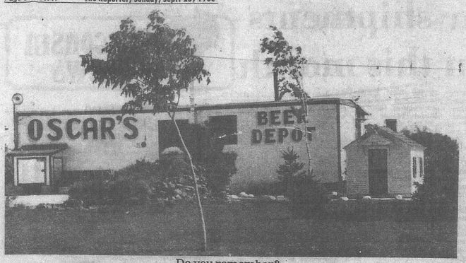 A clipping from The Reporter, 1983, shows a photo of Oscar's Beer Depot with a stack of rocks in the foreground.