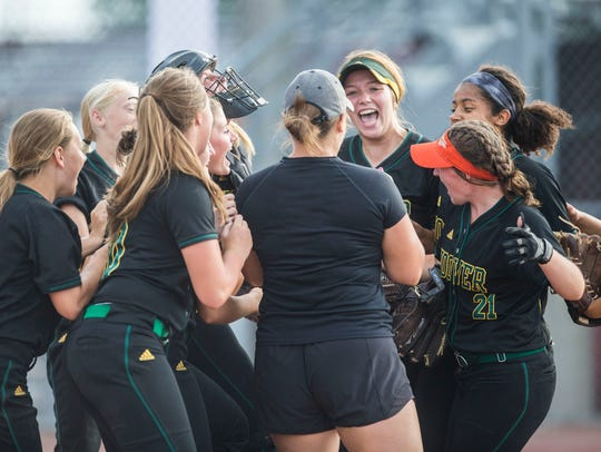 Hoover celebrates after winning the state softball