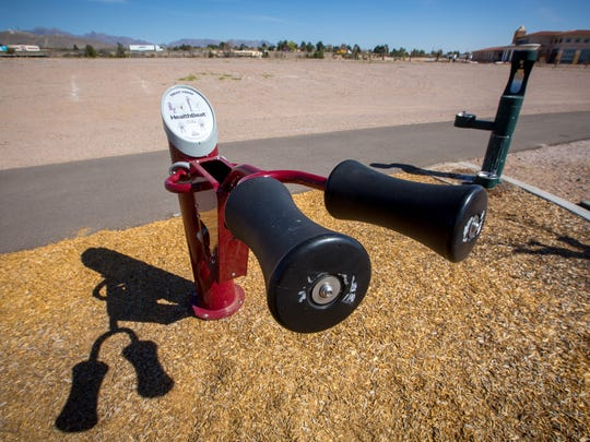 A squat press outdoor exercise machine is  free for the public to use at Pat and Lou Sisbarro Community Park.