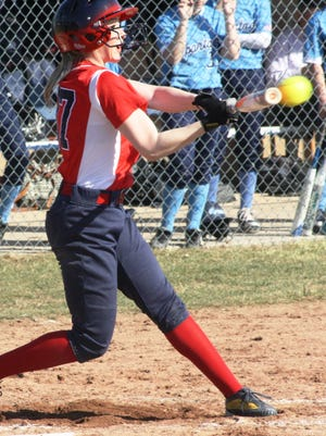 Franklin's Ashley Kent ripped three hits in her varsity softball debut Wednesday afternoon.