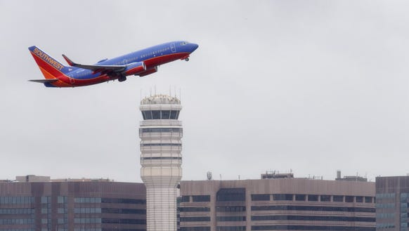 A Southwest Airlines jet takes off from Washington's
