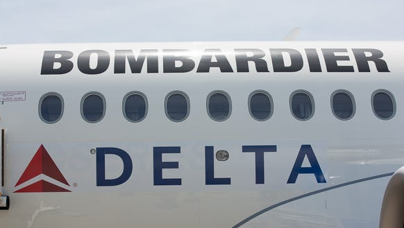 Delta's logo is seen on Bombardier's CSeries jet during