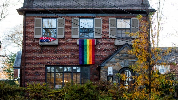 The gay-pride flags put up by his Washington, D.C.,