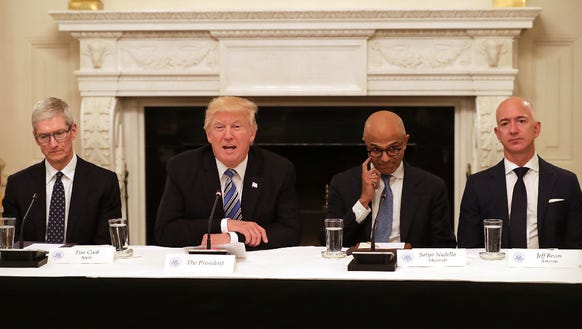 President Donald Trump meets with tech CEOs at the