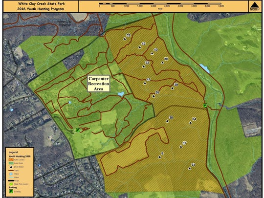 Several trails in White Clay Creek State Park will close Saturday for deer hunt. The map shows the area where access will be closed. The triangles on the map designate deer stands that youth hunters will be using.