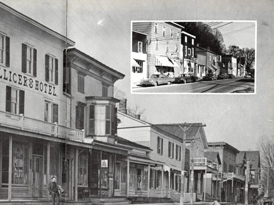 The storefronts in Chenango Forks in 1909; the insert